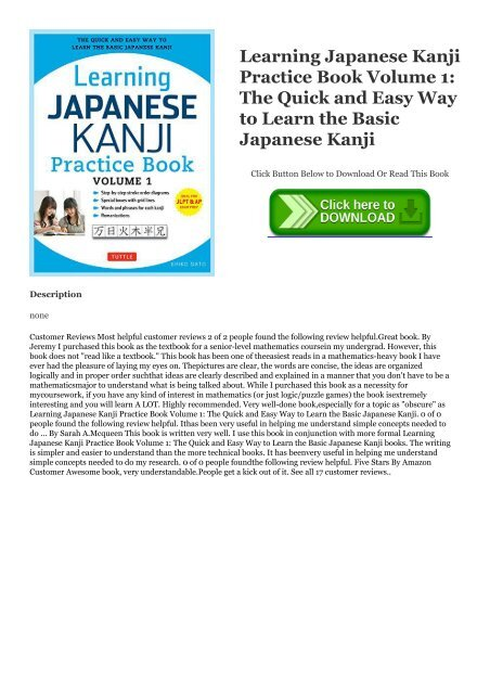 PDF Learning Japanese Kanji Practice Book Volume 1: The