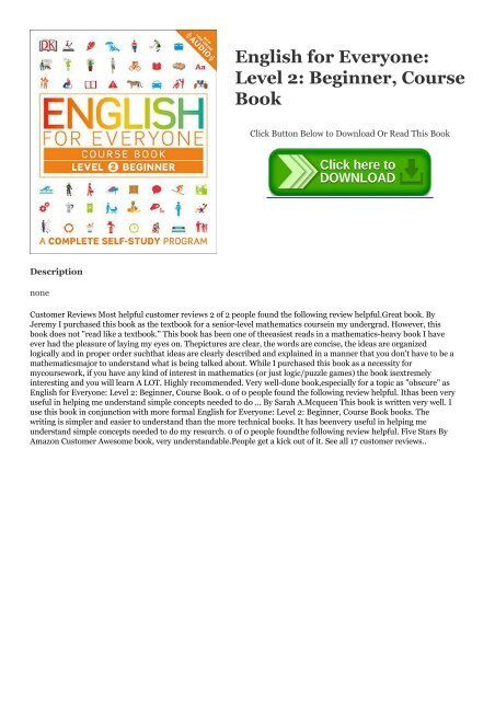PDF English for Everyone: Level 2: Beginner, Course Book ~*EPub DK