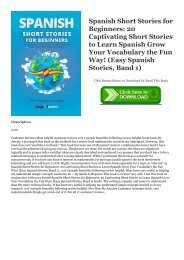 ~!PDF Spanish Short Stories for Beginners: 20 Captivating Short Stories to Learn Spanish   Grow Your Vocabulary the Fun Way! (Easy Spanish Stories, Band 1) ~^EPub Lingo Mastery