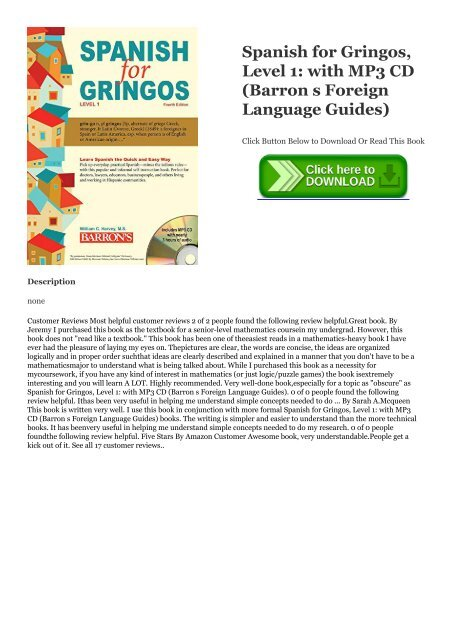PDF Spanish for Gringos, Level 1: with MP3 CD (Barron s Foreign
