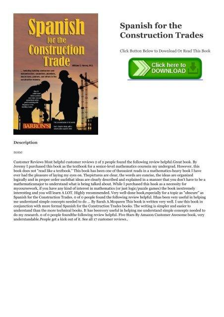 PDF Spanish for the Construction Trades #*BOOK William C  Harvey