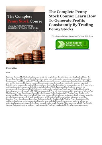E Book The Complete Penny Stock Course Learn How To Generate