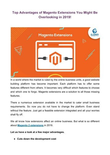 Top Advantages of Magento Extensions You Might Be Overlooking in 2019!