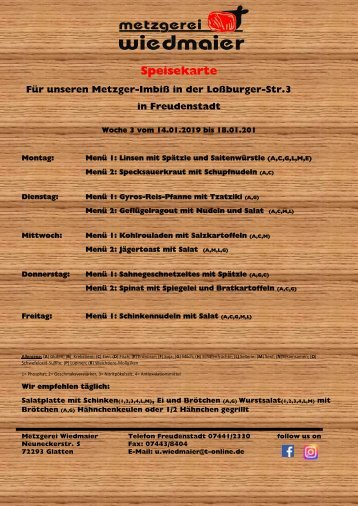 Speisekarte Imbiss Loßburgerstr. Kw 3