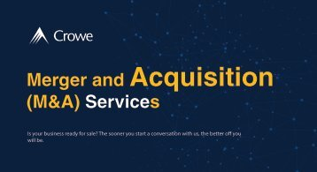 Crowe Merger and Acquisition (M&A) Services