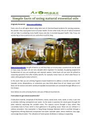 Simple facts of using natural essential oils
