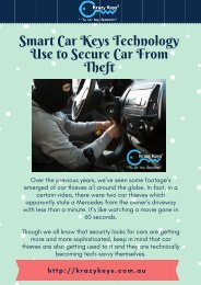 Use The Smart Car Keys Technics To Secure Car From Theft