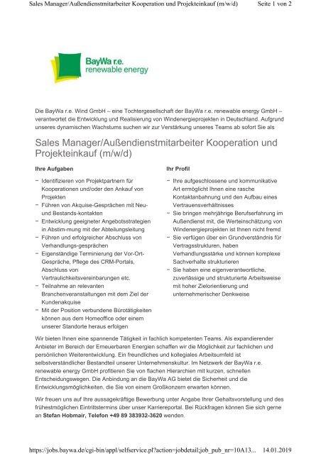 Stellenausschreibung Baywa r.e.: Sales Manager/Außendienstmitarbeiter Kooperation und Projekteinkauf (m/w/d)