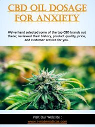 Cbd Oil Dosage For Anxiety