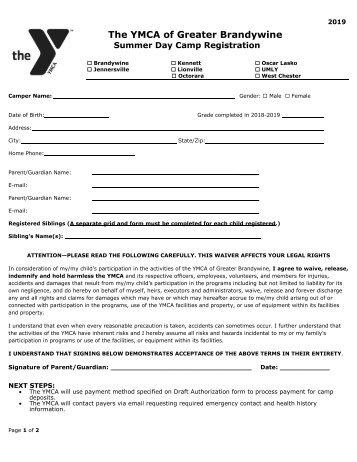 Kennett Area YMCA - 2019 Camp Registration Forms