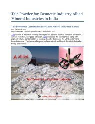 Talc Powder for Cosmetic Industry Allied Mineral Industries in India