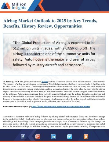 Airbag Market Outlook by New Horizons, Trending Manufacturer Witnesses a Trajectory Growth