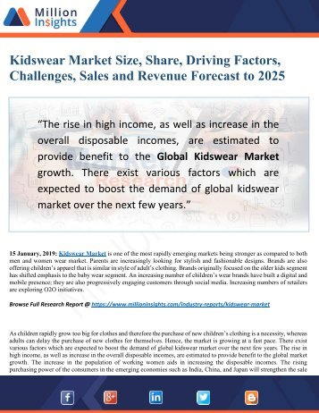 Kidswear Market Dynamics, Trends, Outlook, Feature Investment Drivers and Forecast to 2025