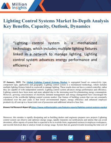 Lighting Control Systems Market Outlook to 2025 by Key Trends, Benefits, History Review