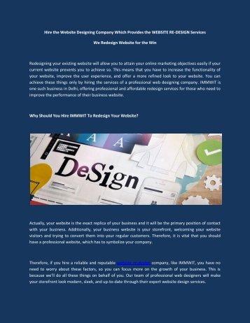 WEBSITE RE-DESIGN  Company in Delhi