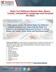 Sales Tax Software Market Status, Growth Opportunity And Forecast Report till 2022