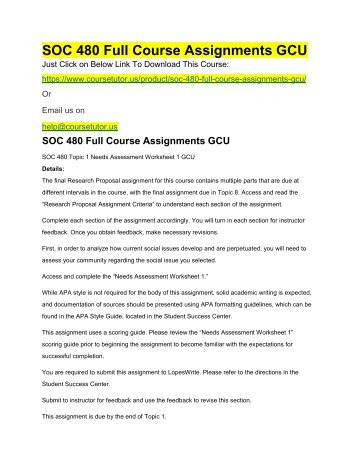 SOC 480 Full Course Assignments GCU