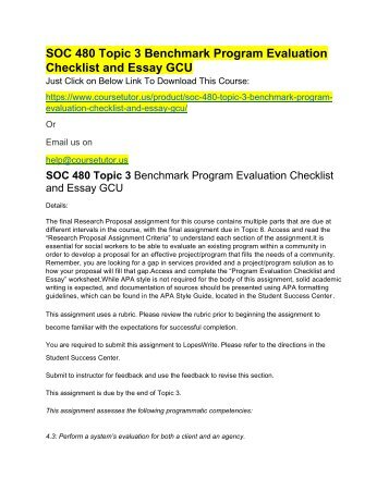 SOC 480 Topic 3 Benchmark Program Evaluation Checklist and Essay GCU