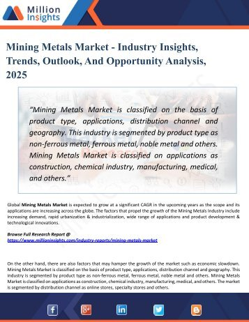 Mining Metals Market Top Manufacturers, Growth, Trends, Competitive Landscape, Price and Forecasts to 2025