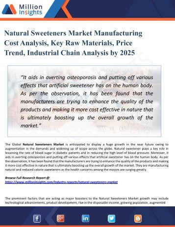 Natural Sweeteners Market Perspective, Comprehensive Analysis, Size, Share, Growth, Segment, Trends and Forecast 2025