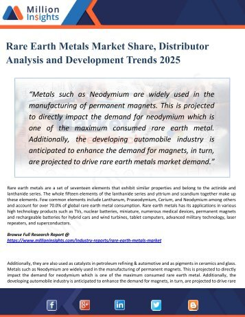 Rare Earth Metals Market Supplier, Competition by Manufacturers and Competitor Analysis to 2025 Forecast