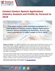 Contact Centers Speech Applications Industry Analysis and Profits by Forecast to 2018