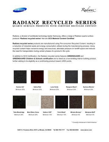 RADIANZ RECYCLED SERIES