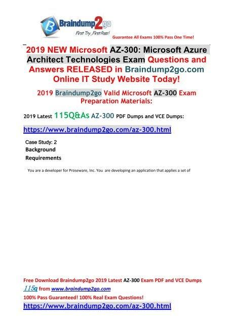 2019-Jan-Version]New AZ-300 PDF Dumps 115Q Free Share(Case
