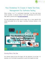 Few Guidelines To Create A Viable Test Data Management For Software Testing