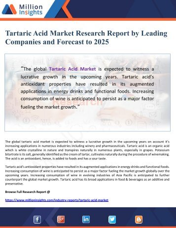 Tartaric Acid Market Research Report by Leading Companies and Forecast to 2025