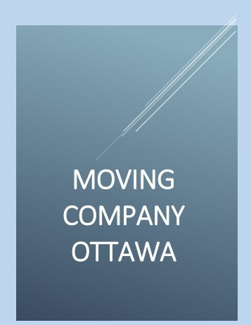 Moving Company Ottawa