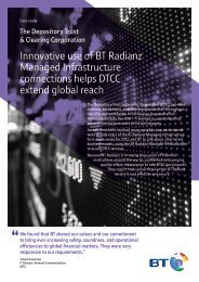 Innovative use of BT Radianz Managed Infrastructure connections ...