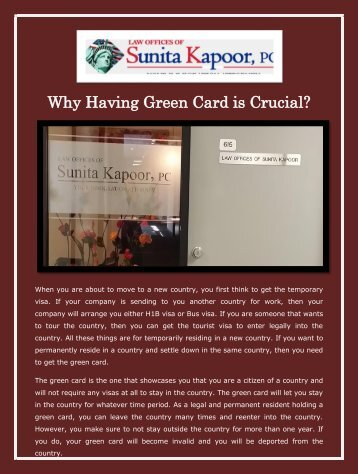 Why Having Green Card is Crucial