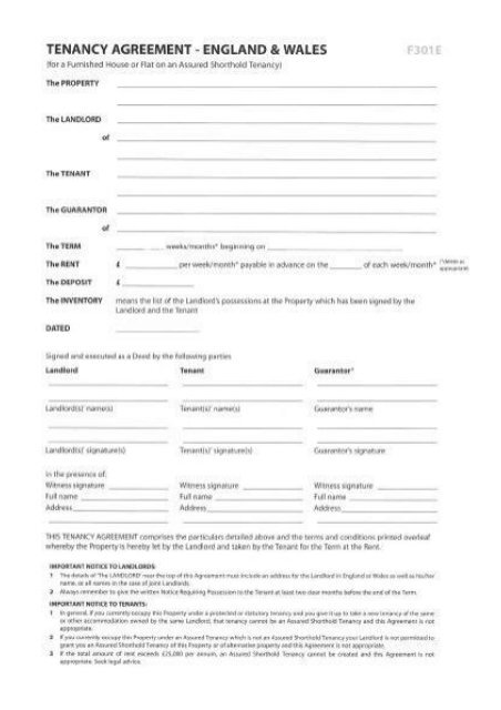 Tenancy Agreement England And Wales Template Tenancy