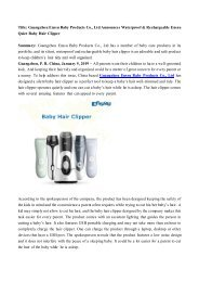 Guangzhou Enssu Baby Products Co., Ltd Announces Waterproof & Rechargeable Enssu Quiet Baby Hair Clipper