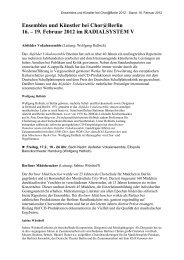 Ensembles und Künstler bei Chor@Berlin 16. – 19. Februar 2012 im ...