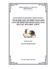 TÍCH HỢP MỘT SỐ PHÉP TOÁN ĐƠN GIẢN ĐỂ HÌNH THÀNH KĨ NĂNG GIẢI BÀI TẬP HÓA HỌC LỚP 8