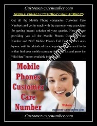 Mobile Phones Customer Care Numbers