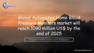 Global Automated Home Blood Pressure Monitors market will reach 1090 million US$ by the end of 2025