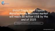 Global Empty Hard Capsule Manufacturing Machines market will reach 50 million US$ by the end of 2025