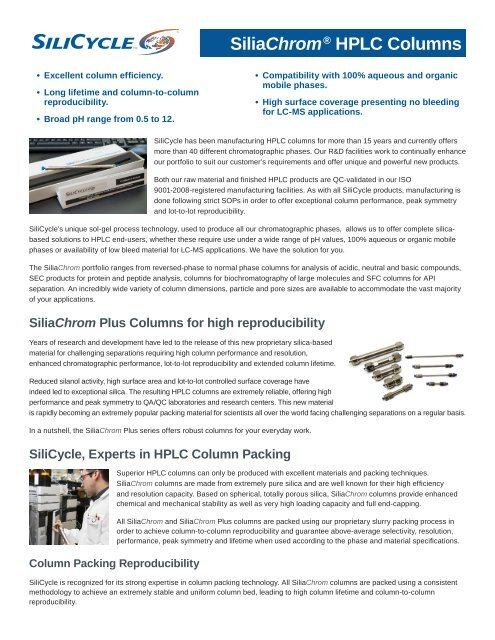 Silicycle Sliachrom HPLC Columns Brochure