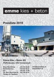 Preisliste Emme Kies und Beton AG 2019
