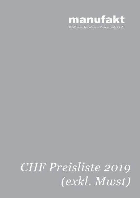 manufakt Preise 2019 (exkl. Mwst)