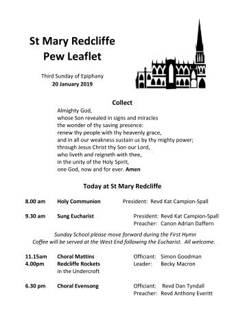 St Mary Redcliffe Church Pew Leaflet - January 20 2019