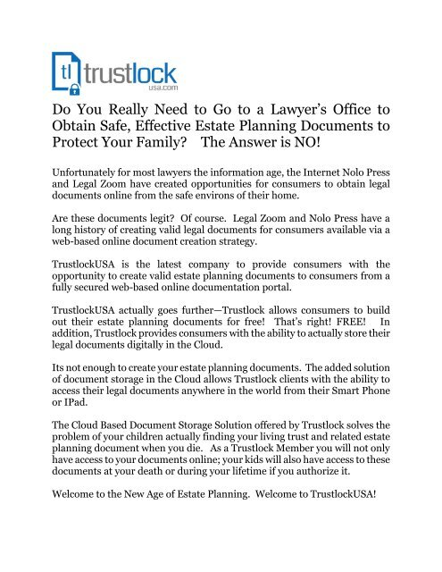 Trustlock-Do you Really Need to Hire a Lawyer to Create Your