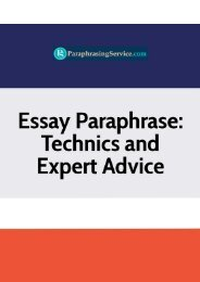 Essay Paraphrase - Technics and Expert Advice