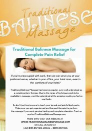 Traditional Balinese Massage for Complete Pain Relief