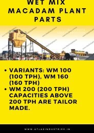 WMM Plants Parts - Wet Mix Plant Exporters