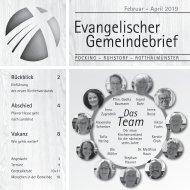 Gemeindebrief Februar – April 2019