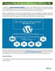 3 Reasons Why Wordpress Development Will Never Die